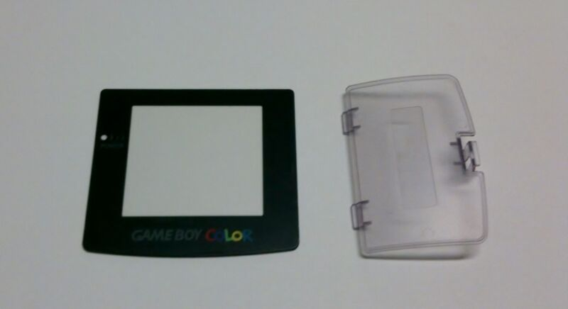 NEW GameBoy Color Replacement Screen Lens & Clear Atomic Purple Battery Cover
