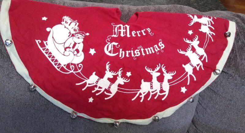 "Felt Christmas Tree Skirt 24"" Jingle Bells Red Vintage Cream color Santa Sleigh"