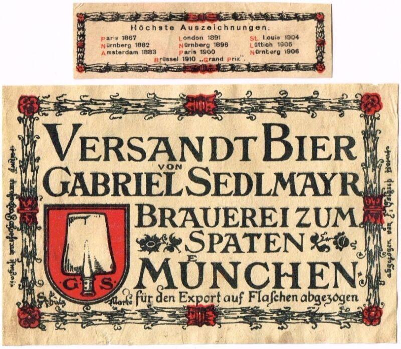 1910s Germany Gabriel Sedlmayr Versandt Spaten Bier Stephens Collection