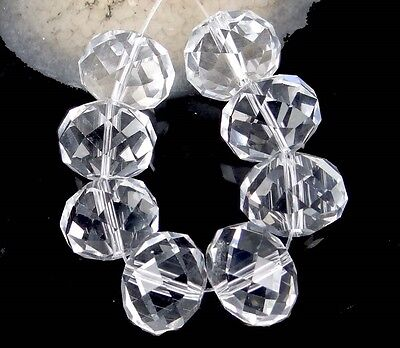 18x14mm Large Clear Glass Quartz Faceted Rondelle Beads (8)