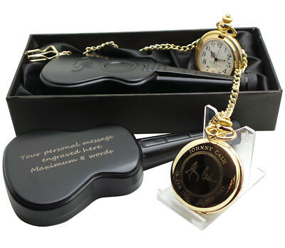 JOHNNY CASH Signed 24K GOLD Clad Pocket Watch and Personalised Guitar Hip Flask