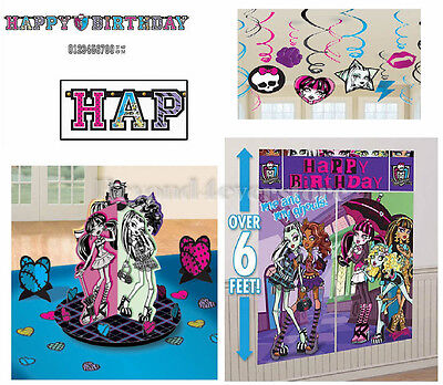 Monster High Birthday Party Pack (Banner, Wall Poster, Swirls & Table Decor Kit) - Monster High Table Decorations