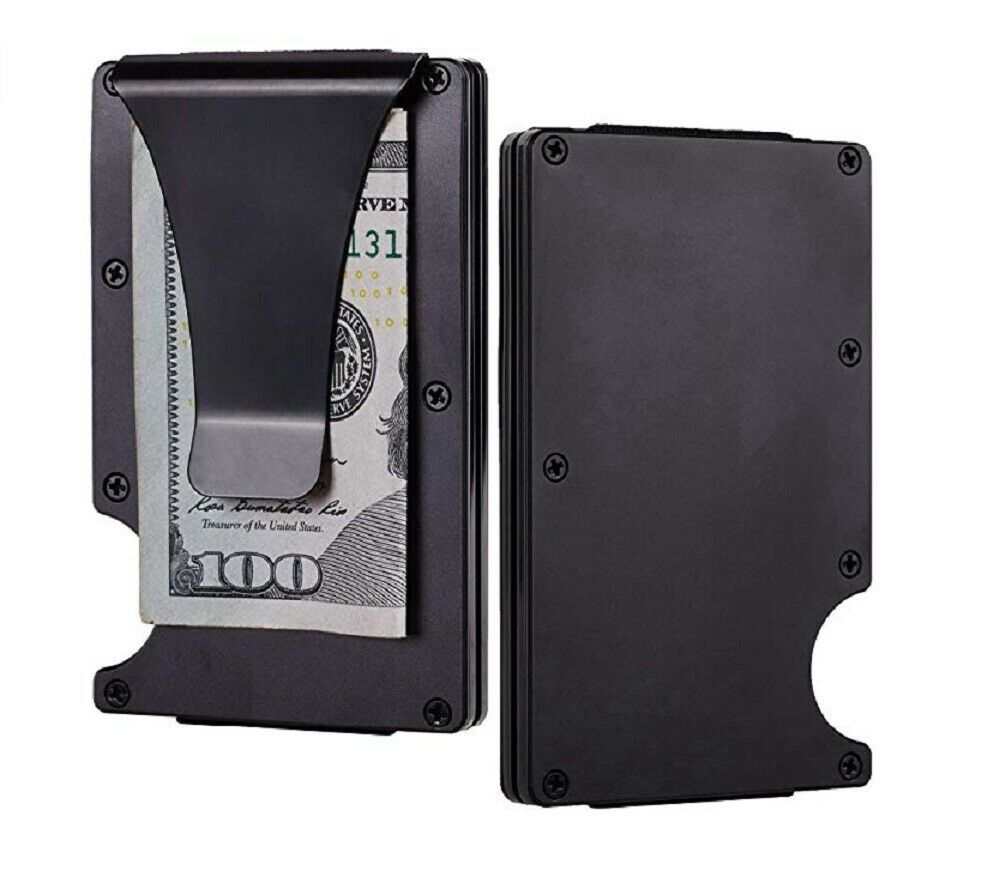 Men RFID Blocking Slim Money Clip Wallet Credit Card ID Holder Thin Minimalist Clothing, Shoes & Accessories