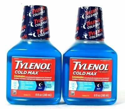 (Pack of 2) Tylenol Cold Max For Adults Night Cool Burst 8 Oz Best By