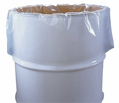 "55 Gallon Clear Plastic Drum Liners, Food Grade, 38"" x 63"", 3-Mil, Roll of 50"