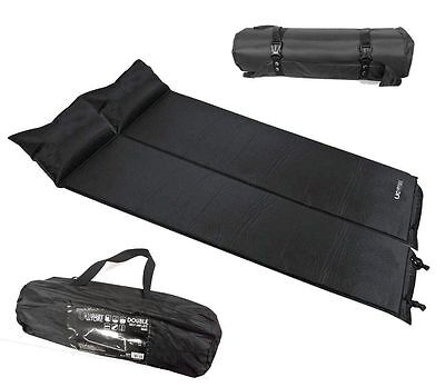 DOUBLE OR SINGLE SELF INFLATING MEMORY FOAM SLEEPING FLOOR MAT CAMP AIRBED BED