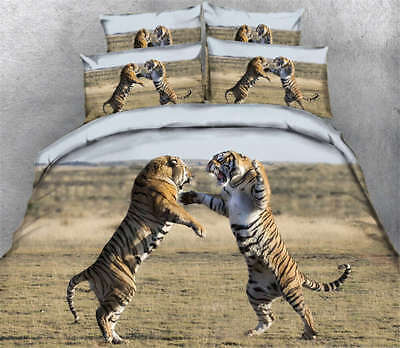 Fighting Tigers 3D Printing Duvet Quilt Doona Covers Pillow Case Bedding Sets - Fighting Tigers Cover