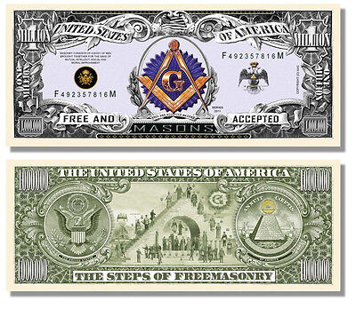 100 Factory Fresh Freemason Masonic Million Dollar Bills New!