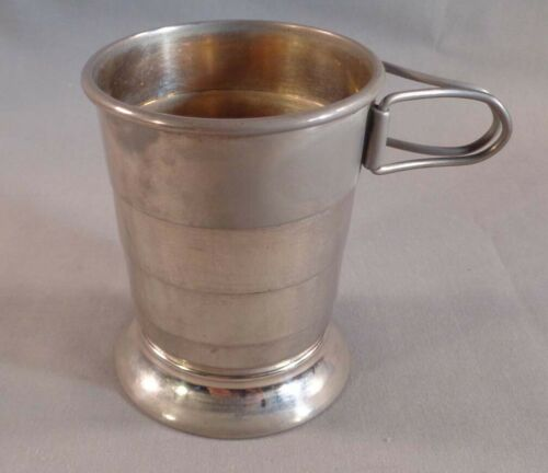 Vintage Collapsible Folding Metal Travel Cup with Case