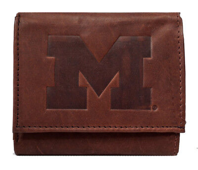 - Michigan Wolverines NCAA Embossed Logo Dark Brown Leather Trifold Wallet