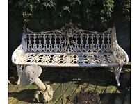 Large white decorative cast iron garden bench