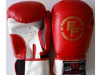 Furiousfistsuk Genuine Leather 12oz Sparring Gloves Red & white color
