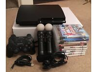Sony Playstation 3 with 2 controllers, PS Move + Games (Fully Working)
