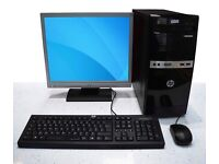 """WINDOWS 7 COMPUTER FULL SETUP, 17"""" LCD MONITOR, KEYBOARD, MOUSE & CABLES"""