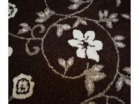 Kensington Wilton Brown Floral Pattern Woven Rug 240 x 150 cm 100% Polypropylene