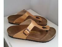 Birkenstock Women's Gizeh Style Gold Sandals - UK Size 7.5 (41) - Excellent Condition
