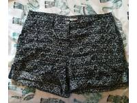 Size 14 black and white shorts from george