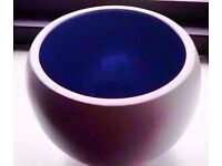 Retro Style Cream/Blue Round Spherical Hanging Plant Pot Art Piece Bowl Vase.