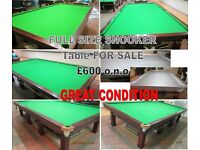 Good Condition : Re Clothed Full size snooker table : for sale as seen