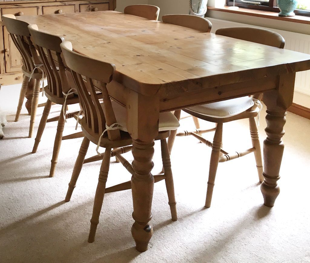Old Pine Dining Table x6 chairs - Fits 8 people around | in Fairford ...