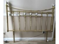 "Brass and porcelain knob double 4'6"" headboard"