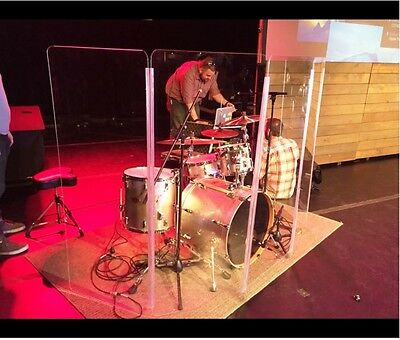 Drum Shield Drum Screen DS6L with Living Hinges Acrylic Drum Panels