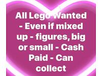 All Lego Wanted - Even if mixed up - figures, big or small - Cash Paid - Can collect