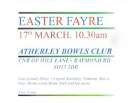 EASTER FAYRE. SAT. 17th MARCH. ATHERLEY BOWLING CLUB.free entry.plenty parking