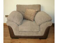Half brown / half light brown plain fabric armchair with FREE DELIVERY only £100