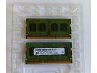 Micron 2x 2GB DDR3 Laptop Memory Ram PC3-8500S MT8JSF25664HZ-1G1D1