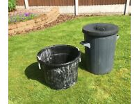 1 x outdoor dustbin and 1 x mixing tub/builders bucket. For composting, cement mixing, storage etc