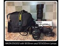 Nikon D3000 10.2 MP Digital SLR Camera Kit w AF-S DX 18-55mm & 70-300mm Lenses +Cary Bag+Clean Kit