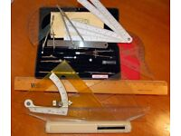 Riefler Set of Drawing Instruments + Set Squares, Protractors and Rulers