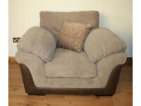 Half brown / half light brown plain fabric armchair with FREE DELIVERY only £110
