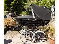 SILVER CROSS BALMORAL PRAM IN BLACK WITH EXTRAS - Baby Ready
