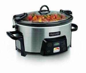 Crock-Pot 6 Qt Programmable Travel Slow Cooker, Stainless Steel