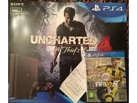 PS4 Slim 500gb with uncharted 4 and FIFA 17. Brand new and sealed