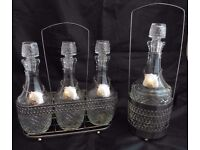 White metal tantalus complete with decaners and matching wine Decanter Set
