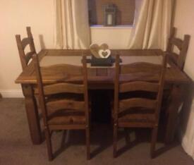 Corona pine dining table & 4 chairs.