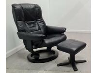 Ekornes Stressless swivel recliner Black leather chair and Stool 1606219