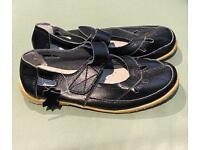 New ladies black leather shoes Size 3
