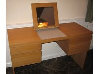 Ikea oak veneer dressing table with mirror