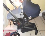 Stunning jane rider travel system with matrix light 2 car seat/ carrycot