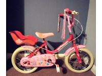 """Raleigh Sunbeam Hearts girls 14"""" bike complete with original stabilizers. Includes a helmet"""