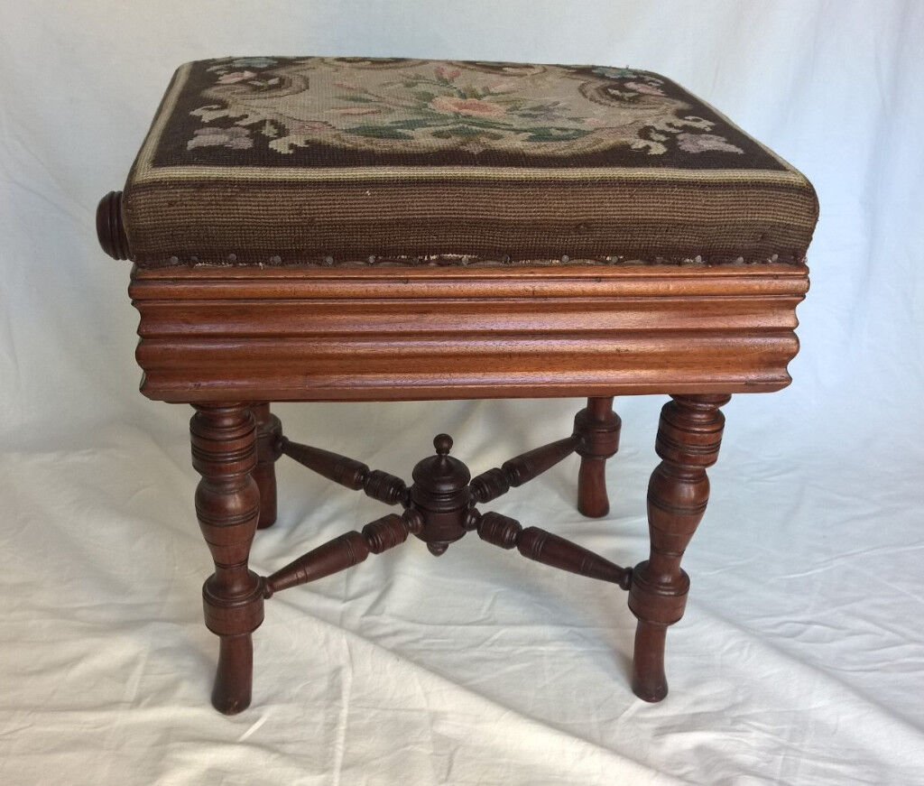 Antique Piano Stool With Needlepoint Cover In
