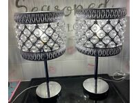 PAIR OF SILVER CHROME TABLE LAMPS