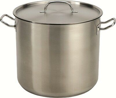 32-35 QT Quart Heavy Duty Tri-Ply Thick Base Stainless Steel Stock Pot w/Lid