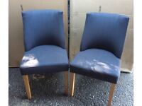 Gorgeous Pair Of Fabric And Oak Dining Chairs.