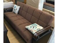 **TURKISH MADE** BRAND NEW FABRIC STORAGE SOFA BED, 3 SEATER SLEEPER LEATHER SETTEE BLACK/BROWN
