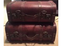 Vintage Wooden Treasure Chest Brown x 2